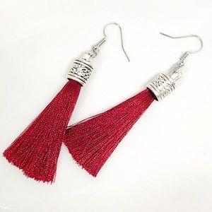 BOGO💫New! Tibetan Silver Ruby Red Silky Tassels